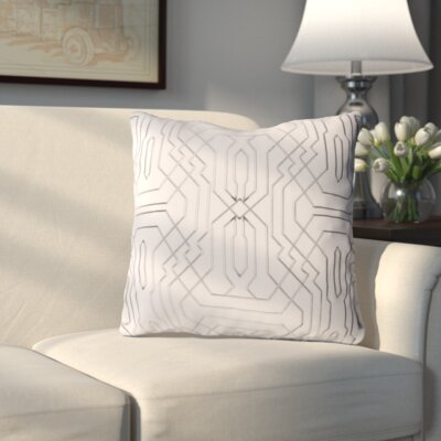 Meader Throw Pillow Color: Ivory/Medium Gray