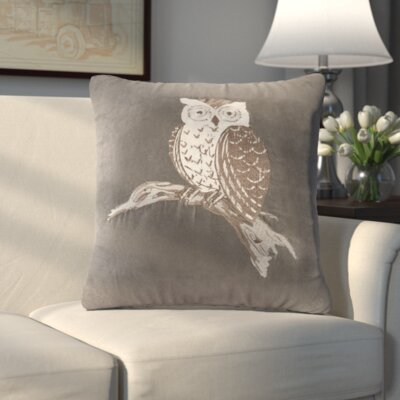 Harleigh Owl Throw Pillow Color: Gray