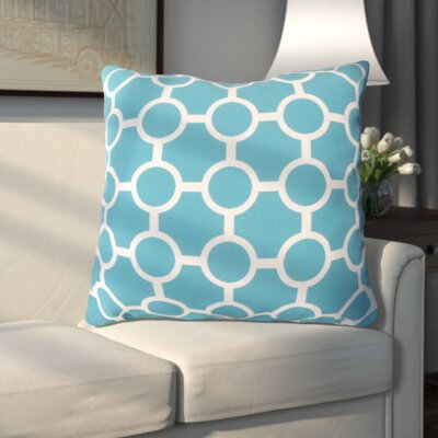 Haysville Smooth Circles Outdoor Throw Pillow Size: 18 H x 18 W x 4 D, Color: Aqua