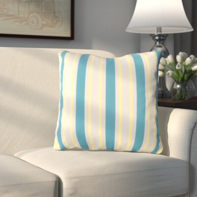 Haysville Nantucket Outdoor Throw Pillow Size: 18 H x 18 W x 4 D, Color: Aqua/Yellow