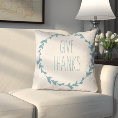 Amesville Indoor/Outdoor Throw Pillow Size: 18 H x 18 W x 4 D, Color: White/Blue