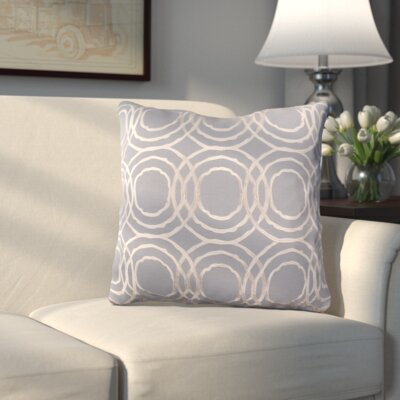Ridgewood Throw Pillow Size: 22 H x 22 W x 4 D, Color: Medium Gray/Cream, Fill Material: Down
