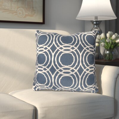Ridgewood Throw Pillow Size: 22 H x 22 W x 4 D, Color: Navy/White, Fill Material: Down