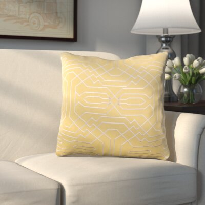 Meader Throw Pillow Color: Mustard/Cream