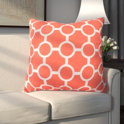 Haysville Smooth Circles Outdoor Throw Pillow Size: 18 H x 18 W x 4 D, Color: Coral
