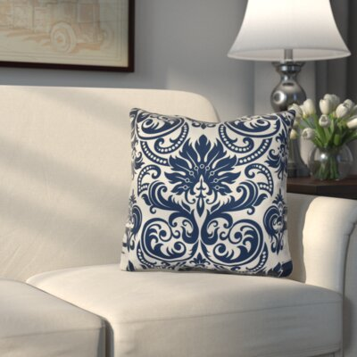 Hanriette Print Napkin Outdoor Throw Pillow Size: 18 H x 18 W x 3 D, Color: Blue