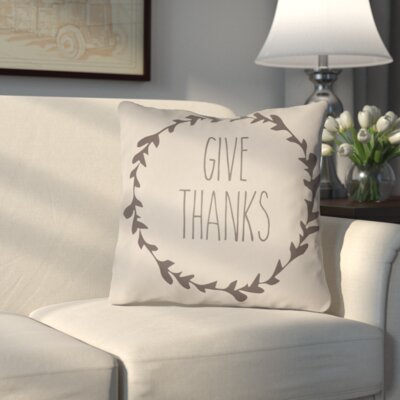 Amesville Indoor/Outdoor Throw Pillow Size: 18 H x 18 W x 4 D, Color: White/Brown