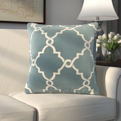 Allard Fretwork Throw Pillow Color: Blue