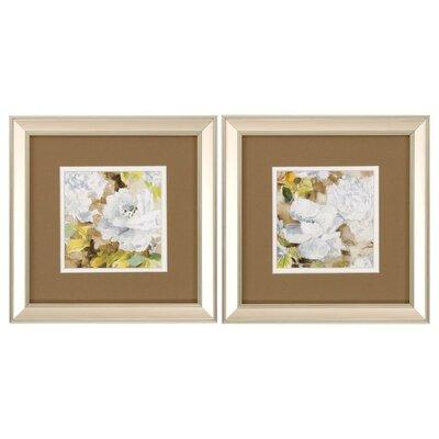 Soft Floral 2 Piece Framed Painting Print Set