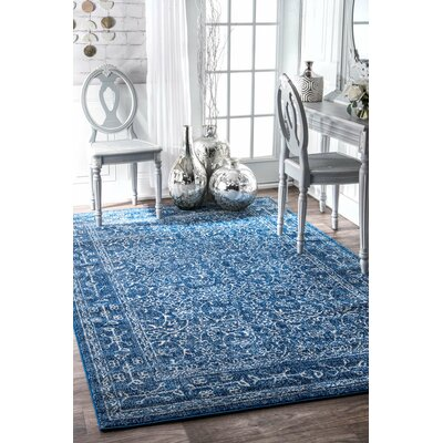 Freemansburg Dark Blue Area Rug Rug Size: 53 x 79
