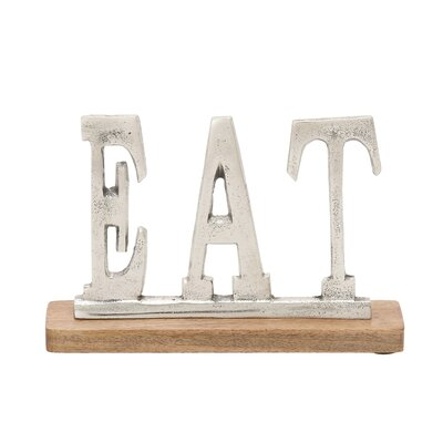 Silver Eat Letter Block Size: 6 H X 10 W X 2 D