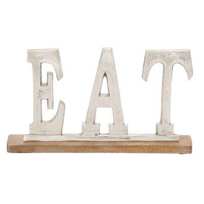 Silver Eat Letter Block Size: 8 H X 14 W X 2 D