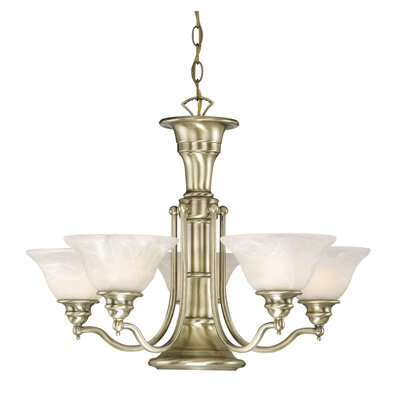 Omaha Traditional 6-Light Shaded Chandelier Finish: Antique Brass
