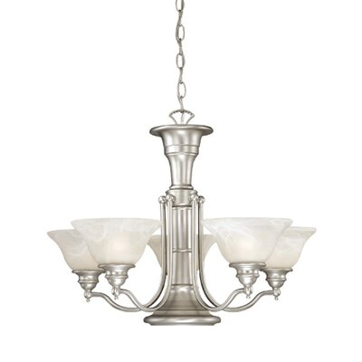 Omaha Traditional 6-Light Shaded Chandelier Finish: Brushed Nickel