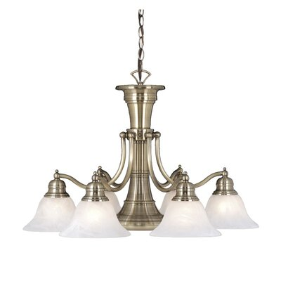 Omaha 6-Light Shaded Chandelier Finish: Antique Brass