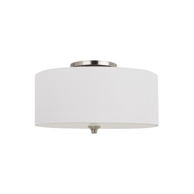 Foland 2-Light Flush Mount Finish: Burnt Sienna, Shade Color: Beige