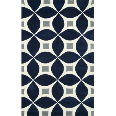 Roush Handmade Navy Blue/Gray Area Rug Rug Size: Rectangle 4 x 6
