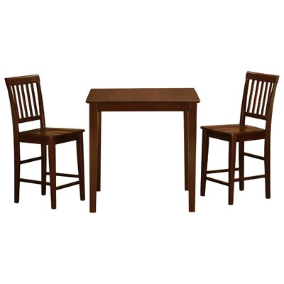 Givens 3 Piece Counter Height Wood Bistro Set Finish: Mahogany