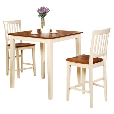 Givens 3 Piece Counter Height Wood Bistro Set Finish: Buttermilk / Cherry