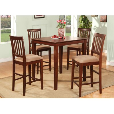 Givens 5 Piece Counter Height Dining Set Finish: Mahogany, Chair Upholstery: Microfiber