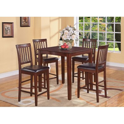 Givens 5 Piece Counter Height Dining Set Finish: Mahogany, Chair Upholstery: Faux Leather