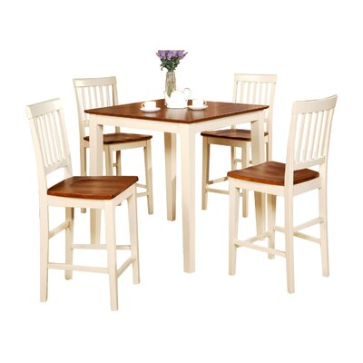 Givens 5 Piece Counter Height Dining Set Finish: Buttermilk / Cherry, Chair Upholstery: Non-Upholstered Wood