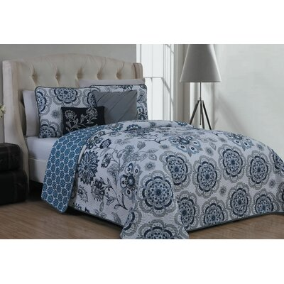 Stokes Traditional 5 Piece Reversible Quilt Set Size: Queen