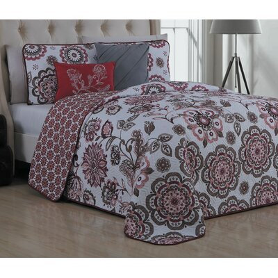 Stokes 5 Piece Reversible Quilt Set Size: Queen