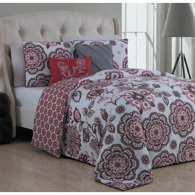 Stokes 5 Piece Reversible Duvet Cover Set Size: Queen