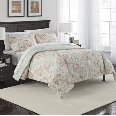 Fieldon 3 Piece Reversible Comforter Set Size: Queen