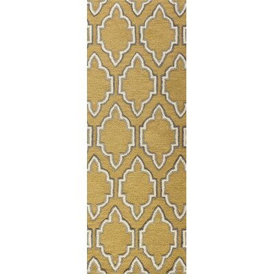 Netta Hand-Tufted Gold Area Rug Rug Size: Runner 26 x 8