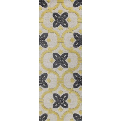 Nolan Hand-Tufted Ivory/Gold Area Rug Rug Size: Runner 26 x 8