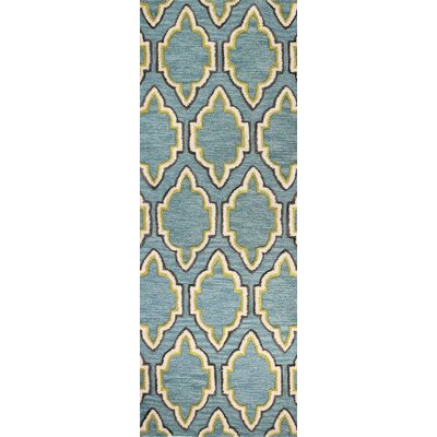 Norman Hand-Tufted Aqua Area Rug Rug Size: Runner 26 x 8