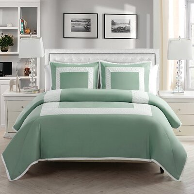 Corte Duvet Set Color: Aqua, Size: Full/Queen