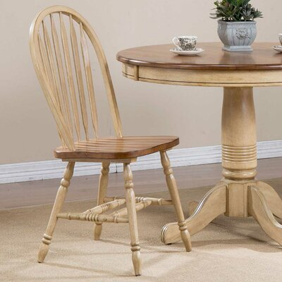 Clyde Arrow Back Solid Wood Dining Chair (Set of 2) Finish: Almond/Wheat