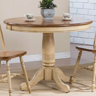 Clyde Round Dining Table Finish: Almond/Wheat