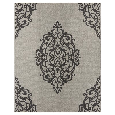 Elmer Onyx/Gray Indoor/Outdoor Area Rug Rug Size: 76 x 53