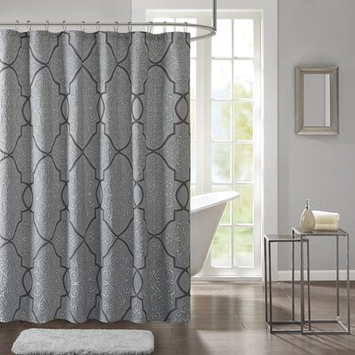 Davenport Shower Curtain Color: Blue/Black