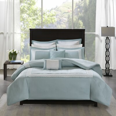 Stearns 7 Piece Reversible Duvet Cover Set Size: Full/Queen, Color: Blue