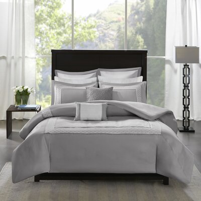 Stearns 7 Piece Reversible Duvet Cover Set Size: Full/Queen, Color: Gray