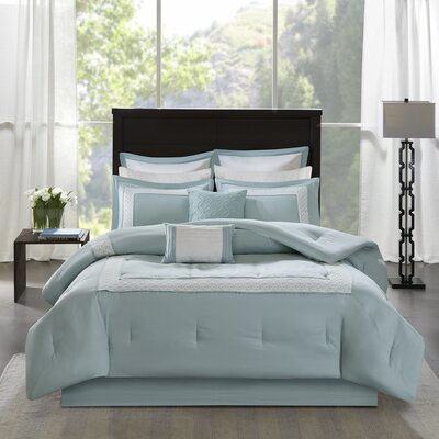 Stearns 8 Piece Reversible Comforter Set Size: Queen, Color: Blue