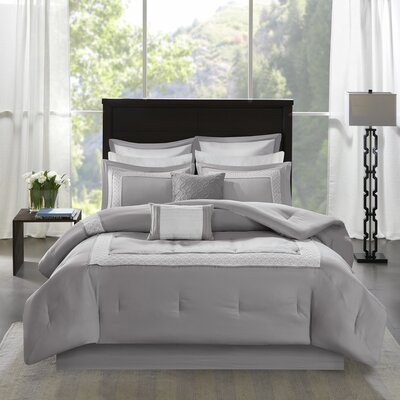 Stearns 8 Piece Reversible Comforter Set Size: Queen, Color: Gray