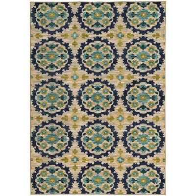 Dudley Floral Beige/Blue Area Rug Rug Size: Rectangle 53 x 76
