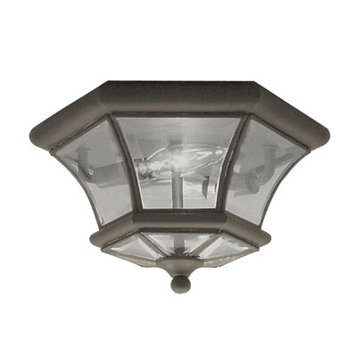 Gustavson 2-Light Flush Mount Size: 7 H x 10.5 W x 10.5 D, Finish: Bronze