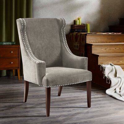 Farley High Back Wingback Chair Upholstery: Charcoal