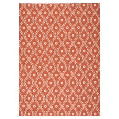 Coyne Rust/White Indoor/Outdoor Area Rug Rug Size: Rectangle 79 x 1010