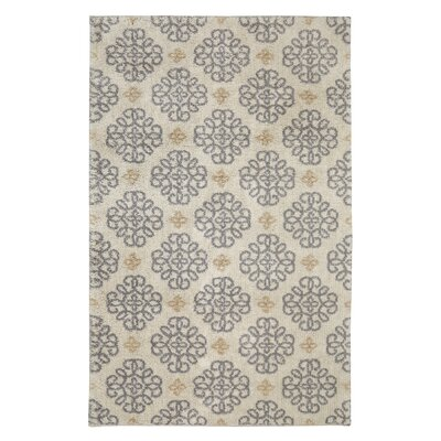 Dumbarton Scrolled Ornament Beige/Gray Area Rug Rug Size: Rectangle 5 x 7