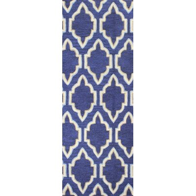 Hermanson Hand-Tufted Navy Area Rug Rug Size: Runner 26 x 8