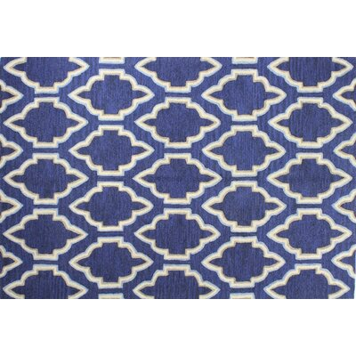 Hermanson Hand-Tufted Navy Area Rug Rug Size: 36 x 56