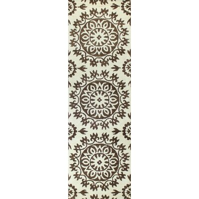 Higginbotham Hand-Tufted Ivory/Chocolate Area Rug Rug Size: Runner 26 x 8